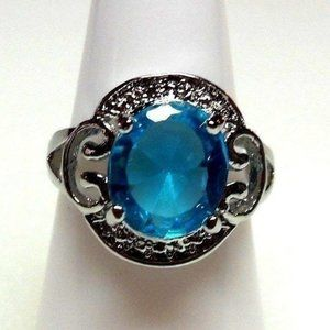 Ring Size 9 Simulated Sapphire Art Deco 219
